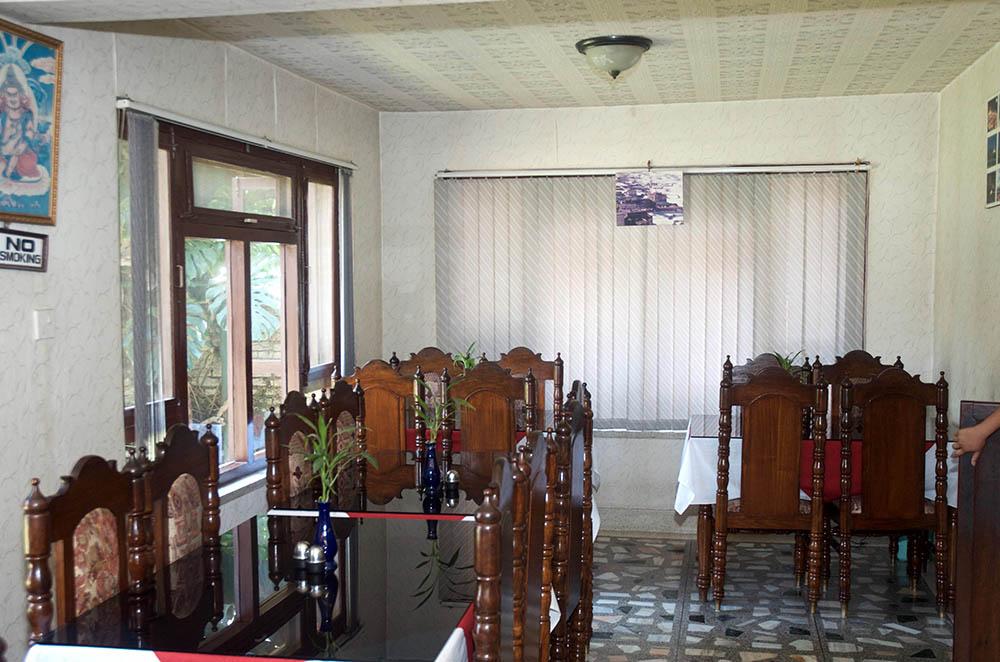 Dining room of Dragon Guesthouse in Bouddhanath, Kathmandu.